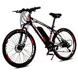 S HOME Moda 26 Pulgadas De Bicicleta Eléctrica De Montaña - 250w Motor De Cepillo Alto, con Batería De Iones De Litio 36v 8ah Extraíble, 21 Engranajes, 3 Modos De Equitación (Negro-Rojo)