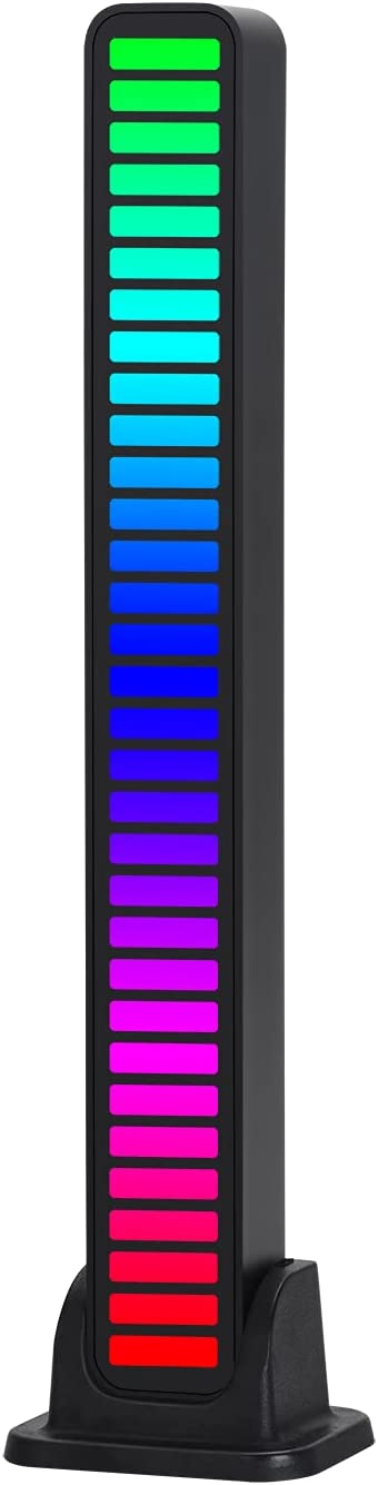 zeriyu RGB Sound Control Pickup Rhythm Light, 32 Bit Colorful Music Ambient LED Light Bar, Built-in Battery, USB Connection with APP, Atmosphere Light for Desktop Car TV DJ Studio Gaming Room Decor