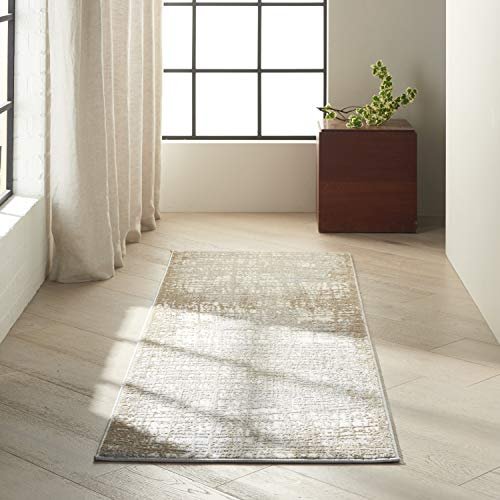 Calvin Klein Rush Abstract Ivory/Taupe 7' Runner Area Rug , 2'3'X7'3'