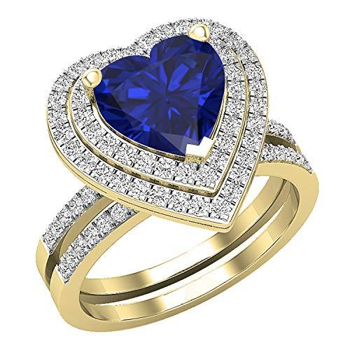 Dazzlingrock Collection Juego de anillos de compromiso de oro amarillo de 10 quilates con zafiro azul y diamante blanco natural redondo de 8 mm, diseño de corazón, talla 6