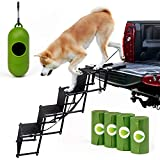 GOHORA Portable Dog Steps for Cars and SUV - High Pet Ramp for Large and Small Dogs with Folding Stairs - Metal Dog Ladder for Pickup Truck, RV, Tall Beds - Non-Slip Surface & Lightweight - Max 200lbs