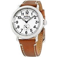 Shinola The RunwellホワイトダイヤルタンレザーMens Watch s0100109