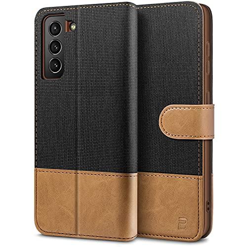 BEZ Handyhülle für Samsung S21 Hülle, Tasche Kompatibel für Samsung Galaxy S21 5G / 4G, Schutzhüllen aus Klappetui mit Kreditkartenhaltern, Ständer, Magnetverschluss, Schwarz