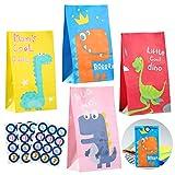 ZITFRI Bolsas de papel de regalo de dinosaurios, para fiestas, 28 unidades, con 48 pegatinas de dinosaurio, para cumpleaños infantiles, niñas, obsequios, bodas, fiestas