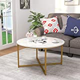Mecor Round Coffee Table, Modern Center Table with Faux...