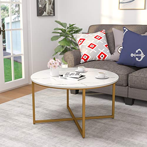 Mecor Modern Round Coffee Accent Table with Faux Marble Tabletop and X Base Gold Metal Frame, Suit for Living Room, Home Office, Easy Assembly, Marble/Gold