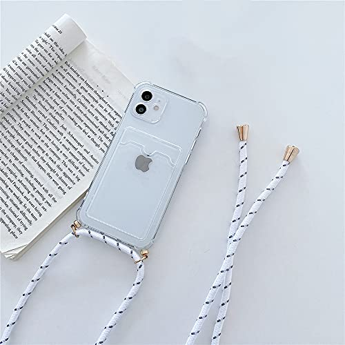 LIUYAWEI Funda con Soporte para Tarjeta con Collar y cordón Cruzado para iPhone 11 13 12 Pro MAX Mini XS X XR 8 7Plus SE Funda Transparente de Silicona Suave, Transparente, para iPhone 7