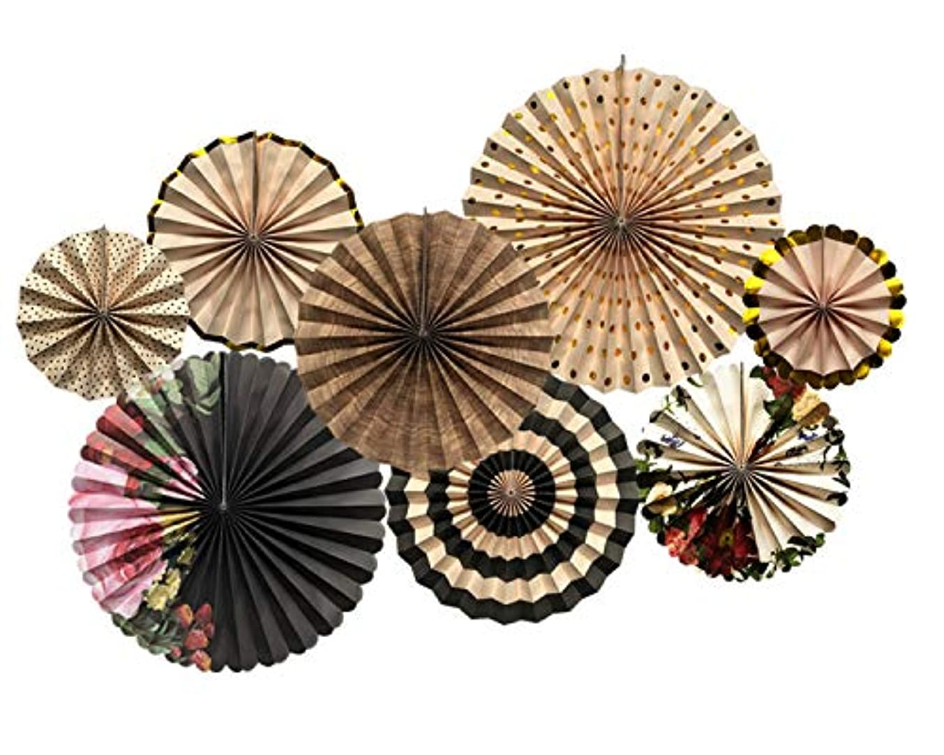 THEC Paper Fans Decoration,Black and Flower Party Decorations for Wedding Birthday Party Accessories Set of 8