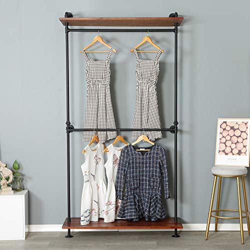 MDEPYCO Modern Simple Industrial Pipe Double Hanging Rods Clothing RackRetail Display Wall Mounted Storage Clothes Hanging Shelf2 Tier Wood Garment Rack Black 472 L