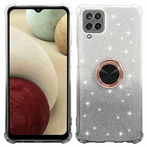 Glitter Hülle für Samsung Galaxy A22/5G Hülle, Glitzer Diamant Transparent TPU Handyhülle mit Handy Ring Ständer Schutzhülle für Samsung Galaxy A22/5G Handy Hülle für Mädchen Frauen grau