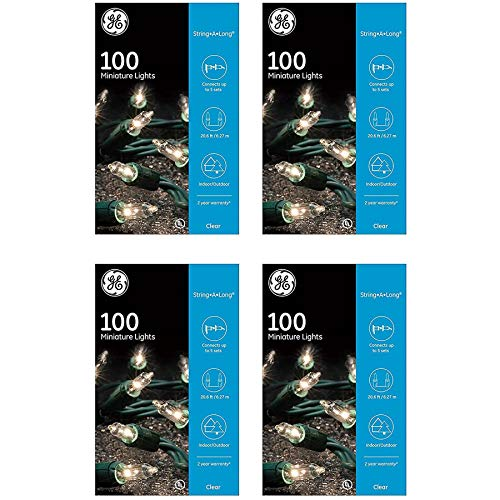 GE String A Long 100 Count Indoor / Outdoor Mini Clear White Holiday / Party Lights Set on Green Wire (4 Pack) New Mexico