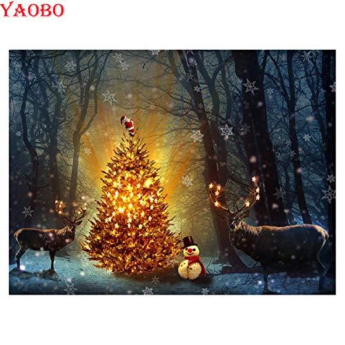 DIOPN 5D Strass Schilderij Diamant Schilderij Cartoon Kerstboom Herten Mozaïek Kit Behang DIY Kerst Decoraties voor Thuis(Rond Diamant 40 * 50cm)