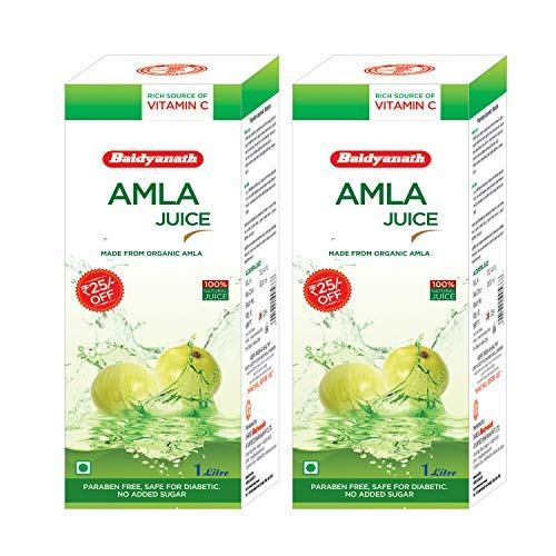 Baidyanath Natural Organic Amla Juice - 1 L (Pack of 2)