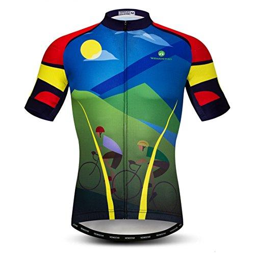 weimostar Fahrradtrikot für Herren, atmungsaktiv, Mountainbike-Trikot, kurzärmelig, Sommer L Grün Blau Gelb