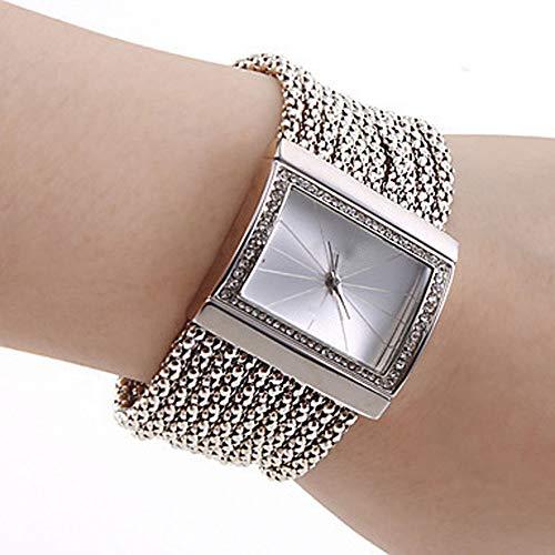 Damen Strass Uhr Mode Armband Analog Quarzuhr Platz Kristall Damenuhr Großes Gesicht Großes Zifferblatt Breitband Manschette Uhr,Silber