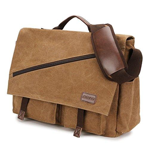 Messenger Bag Men,Mens Satchel 15.6 inch Laptop Bag Water Resistant Vintage Shoulder Bag Canvas Briefcase College Bookbag by RAVUO Coffee