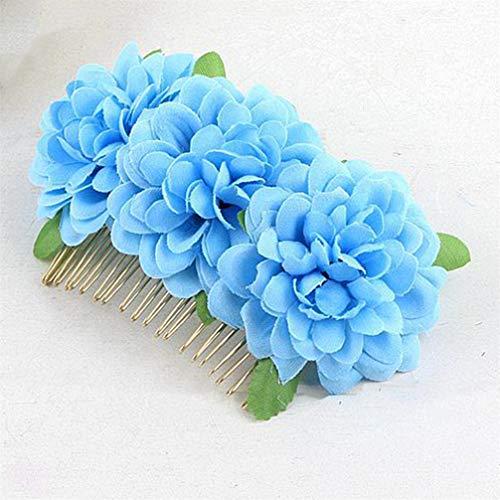 Kyoidy Bohème épingle à Cheveux Mariée Mariage Cheveux Peignes Fleur Artificielle Demoiselle d'honneur Coiffure DIY Cheveux Accessoires pour Femmes,Bleu