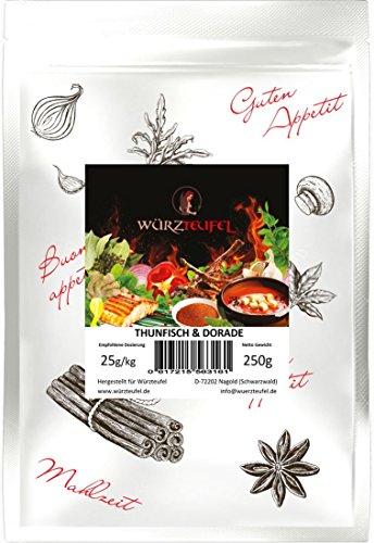 Thunfisch und Dorade. Grill -& Bratgewürz für Fisch, Fischgewürz mediterrane Art. Beutel 250g.