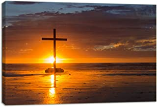 KALAWA Religious Jesus Christ Spiritual Canvas Prints Wall Art Red Christian Cross Standing on A Rock in The Sea Picture for Living Room Stretched and Framed Ready to Hang(24''W x 36''H)