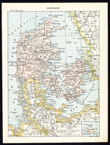 ThePrintsCollector de mapamundi antiguo-print-Dinamarca-brazos-Diseo de banderas de pases-Army-disfraz-Larousse-1897