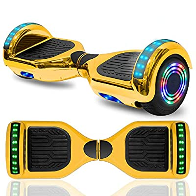 "Hoverboard Electric Self Balancing Scooter 6.5"" Wheel with Built in Bluetooth Speaker LED Side Lights Kids Gift Safety Certified (Chrome Gold)"