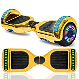 cho 6.5' inch Hoverboard Electric Smart Self Balancing Scooter with Built-in Wireless Speaker LED Wheels and Side Lights Safety Certified (Chrome Gold)