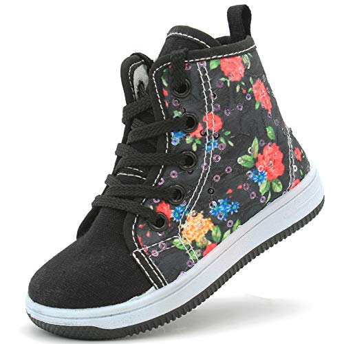 Canvas Sneakers Shoes for Toddler Girls Infant Baby Strap Soft Comfortable Easy Walk (2 M US INF, Black Flowers)