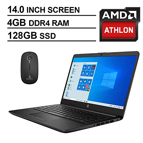 2020 Newest HP 14 Inch Premium Laptop, AMD Athlon Silver 3050U up to 3.2 GHz, 4GB DDR4 RAM, 128GB SSD, WiFi, HDMI, Windows 10 in S, Jet Black + NexiGo Wireless Mouse Bundle