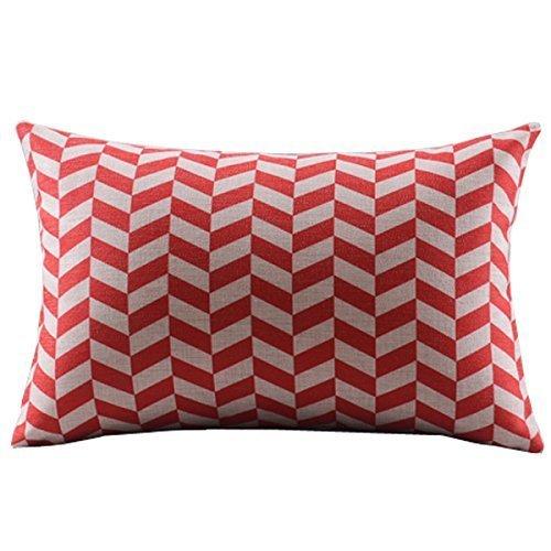 Acelive - Funda de cojín decorativa de lino y algodón de 30,5 x 50,8 cm, diseño de cheurón rojo y blanco rectangular para el día de San Valentín Safa