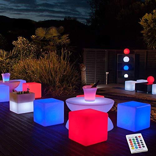 JINGBO Taburete Cubo LED, Luz Nocturna Intemperie con IP67 Impermeable -5 Brillo Regulable -16 Colores RGB Ajustables -4 Modos de Color-cambiante [Clase de eficiencia energética A],80 * 80 * 80cm