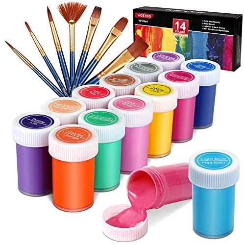 WOSTOO Pintura Acrílica,Pinturas Acrílicas de Colores 21 Set 14 x 20 ml...