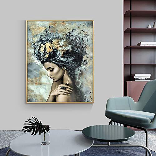 Mubaolei Retrato Abstracto Pared Arte Lienzo Pintura Carteles e Impresiones Pared Arte Abstracto Chica Imagen para Sala de Estar decoración del hogar 60x80cm