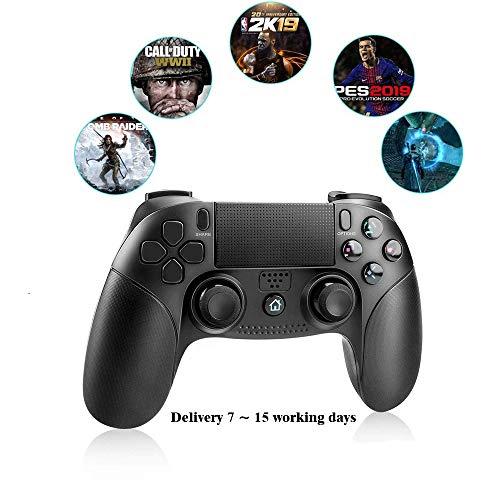 RUIXINBC Control Inalámbrico para PS4 / PS3 / PC, Joystick Inalámbrico Bluetooth con Auriculares De 3,5 Mm Jack, Gamepad Inalámbrico con Dual Shock Y Pantalla Táctil