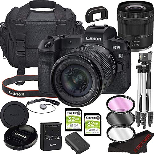 Canon EOS R Mirrorless Camera Bundle with 24-105mm STM Lens | Built-in Wi-Fi|30.3MP Full-Frame CMOS Sensor | DIGIC 8 Image Processor and Full HD Videos + 64GB Memory(17pcs) Kit