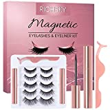 Richsky Magnetic Lashes and Liner - 3D Natural Magnetic Eyelashes with Long Lasting Eyeliner Set - 5 Pairs Dramatic False Eyelashes and 2 Tubes of Reusable Waterproof Eyeliner (FKIT-5Pairs-02)