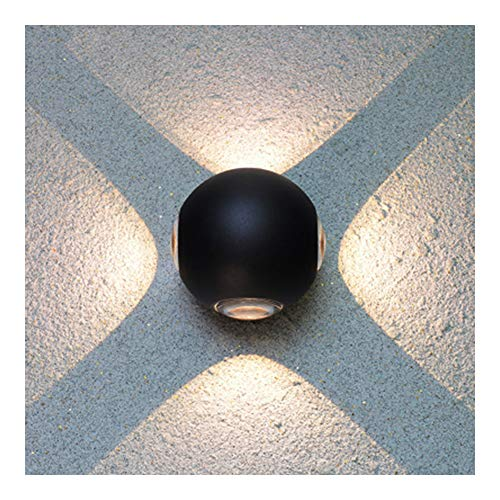 Applique murale, applique murale LED moderne intérieur lampe murale applique murale LED en aluminium imperméable à l'eau extérieure horizontale double paroi tête d'éclairage sphérique-black-1he