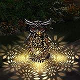 Lanterna solare Luci da esterno Gufo Lanterna da giardino in metallo vintage Impermeabile LED Lanterna a sospensione solare Decorazioni da esterno per giardino Cortile Prato Patio Cortile