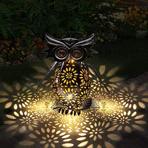 Luces de linterna solar Búho al aire libre Linterna de jardín de metal vintage Linterna colgante solar LED a prueba de agua Decoraciones al aire libre para jardín Patio Césped Patio Patio