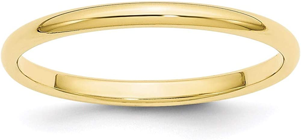 10k Yellow Gold 2mm Half Round Wedding Ring Band Size 5.5 Classic Fine Jewelry For Women Gifts For Her