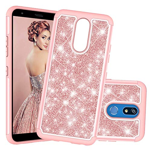 COTDINFORCA Case for LG K40 Custodia Shell Cases Glitter Protective Dual Layer Silicone Plastic Armor Defender Phone Cover per LG K40. 2 in 1- Bling Rose Gold YB