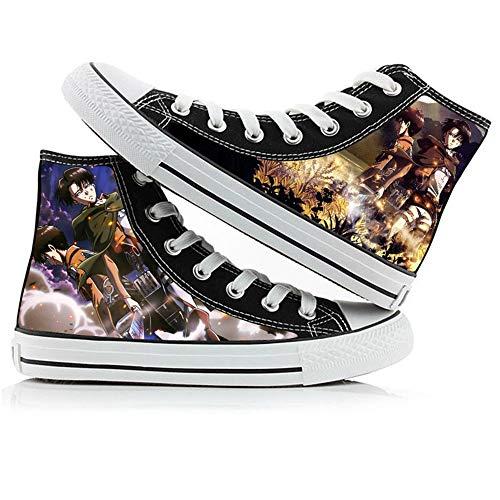 JPTYJ Attack On Titan Eren Jaeger Zapatos Altos Unisex Zapatos Casuales de Anime Zapatos de Lona para Estudiantes Zapatillas de Deporte de la Escuela Secundaria B-36