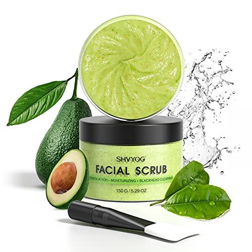 Green Tea Facial Scrub, SHVYOG Organic Avocado & Green Tea Face Scrub With Brush, Exfoliating Facial Scrub Moisturizes Face, Exfoliating Face Wash to Treat Acne, Blackheads, Large Pores and Oil