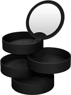 CNNIK Scatole Portagioie, Portagioie Rotante Circolare a 4 Strati con Specchio, Jewellery Organizer per Anelli Orecchini C...