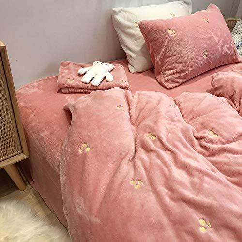 Funda Nórdica de Suave,Funda de edredón de ropa de cama de otoño invierno cálido de felpa de peluche,funda de almohada de sábana de color sólido suave para dormitorio de niña Pink 220*240cm(4pcs)