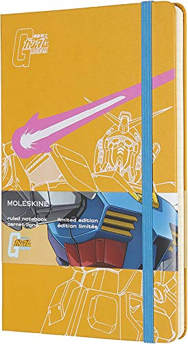 "Moleskine Limited Edition Gundam Notebook, Hard Cover, Large (5"" x 8.25"") Ruled/Lined, Orange Yellow, 240 Pages"