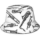 Elxf Cappello da Pescatore Estivo da Pescatore Cappello da Pescatore Estivo Cappello da Pescatore Estivo in Ottone con Stampa Strumento a fiato in Legno Nero