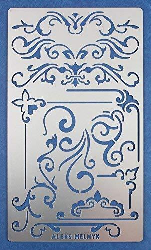 Aleks Melnyk #3 Stencil Plantilla de Metal para estarcir/Vintage, Flores/para Arte Manualidades y decoración/Plantilla para Estarcidos/para...