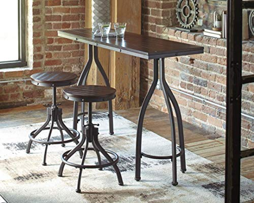 Signature Design by Ashley Odium Urban Counter Height Dining Table Set with 2 Bar Stools, Gray