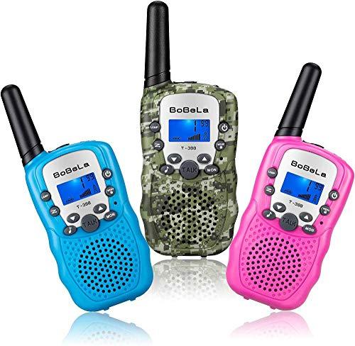 Pack De 3 Walkie Talkie para Niños De 8 Canales Radio De 2 Vías para Regalos De Niñas Y Niños con Linterna con Pantalla LCD Retroiluminada,T388 Blue and Camo and Pink (Without Batteries)
