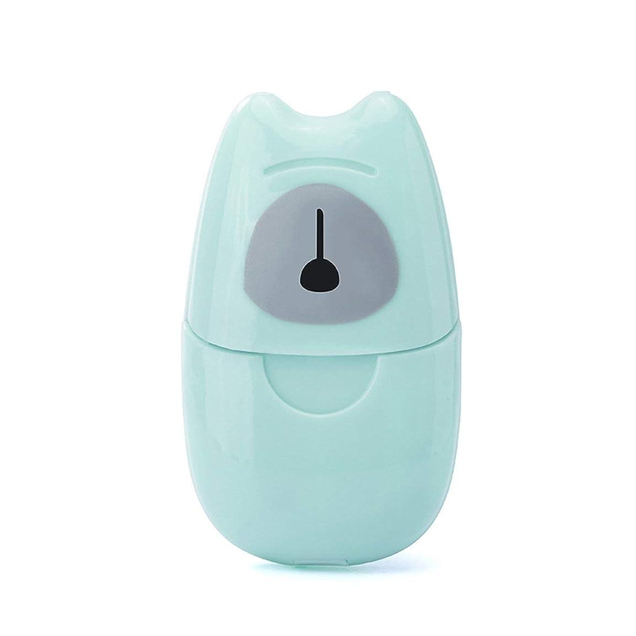 値する動員する幅箱入り石鹸紙旅行ポータブルアウトドア手洗い石鹸香りスライスシート50ピースミニ石鹸紙でプラスチックボックス - グリーン